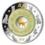 Rok Psa 2018 2018 - Laos 2000 KIP Lunární Rok Psa s Nefritem / Year of the Dog with Jade - proof