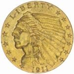 Historical Coins 1911 - USA 2,50 $ Indian Head