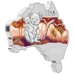 2014 - Australia 1 $ - Australian Map Shaped Coin - Koala 1oz