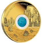 Treasures of the World 2015 - Australia 100 $ Treasures of the World Gold Coin - North America / Turquoise - Proof