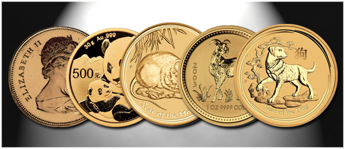 Gold Coins on Stock